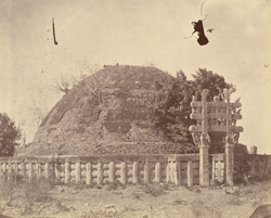 General view from the north of the Great Stupa before repairs, Sanchi, Bhopal State